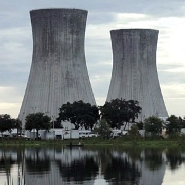 The demolition of the towers of a power station in Jacksonville in 2018