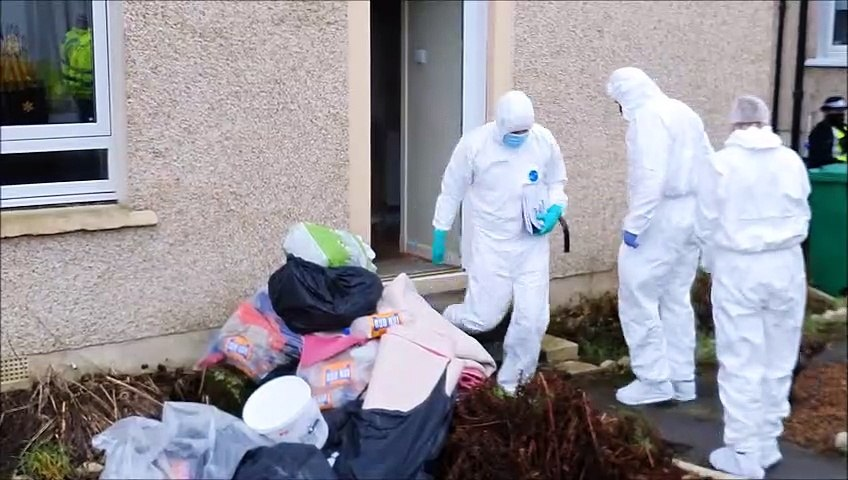 Police Scotland search a property in Kinglassie in relation to the death of Ean Coutts