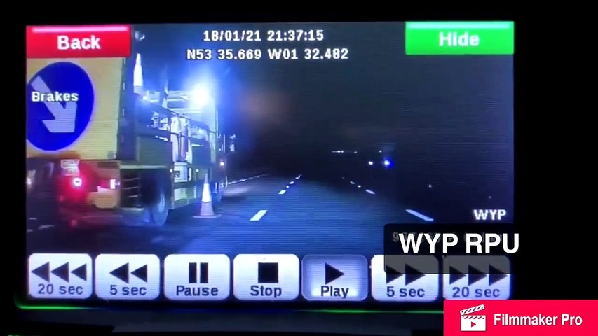Watch shocking moment brave police officer stops car driving wrong way on M1 with head-on crash