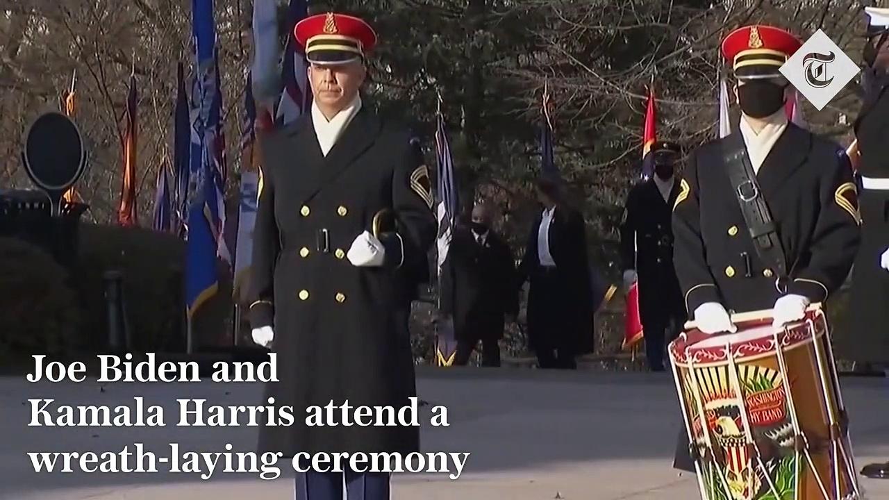 Joe Biden and Kamala Harris attend wreath-laying ceremony after inauguration