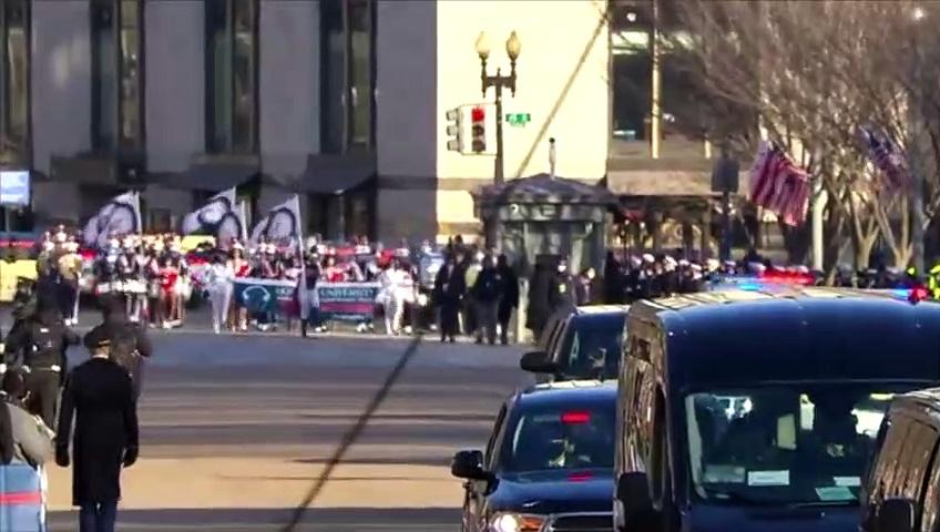 Howard University marching band escorts VP Kamala Harris on Inauguration Day