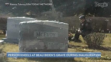 Photo Goes Viral of Uniformed Man Kneeling at Beau Biden's Grave While Dad Joe Biden Is Sworn in as President