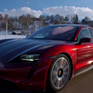 The new Porsche Taycan in Cherry metallic Driving Video