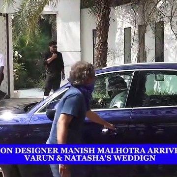 Fashion Designer Manish Malhotra arrives for Varun & Natasha's wedding