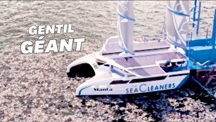Un gigantesque catamaran nettoyeur des mers présenté à Paris