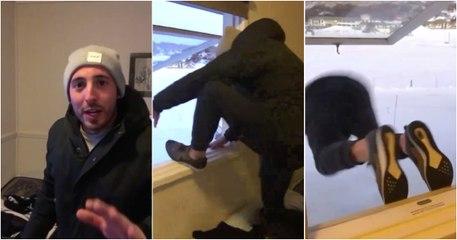 Saltou da janela de casa para a neve... o que podia dar errado?