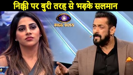 Bigg Boss 14  :  Nikki Tamboli Bashed Badly By Salman Khan                                                                                                                                                      _