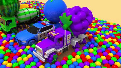 Eat Color Fruits for Friends - Street Vehicle Magic Slide Pretend Play with Learn Colors for Kids