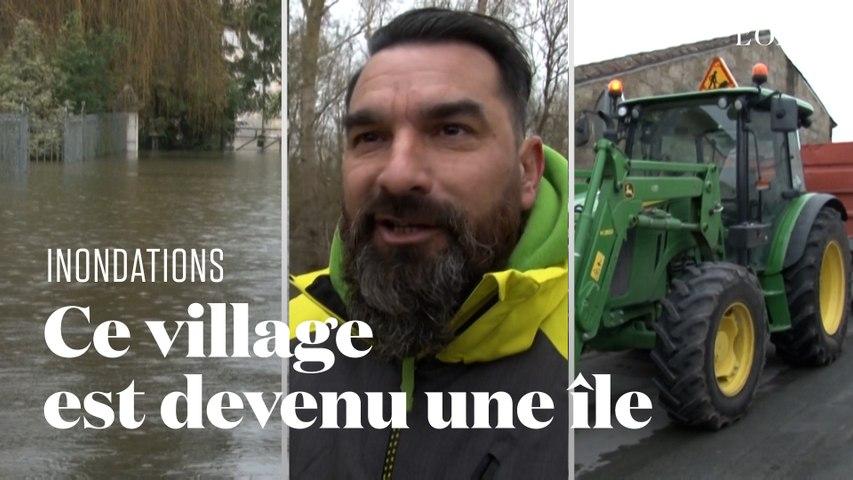 Les inondations ont transformé le village de Courcoury en île