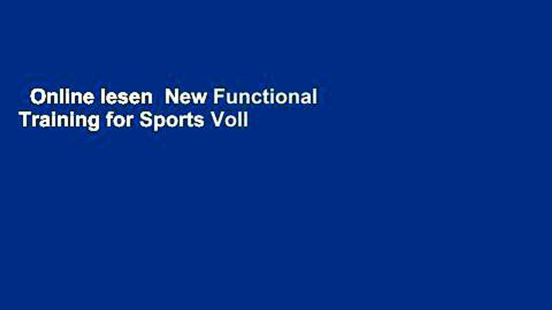 Online lesen New Functional Training for Sports Voll   video ...