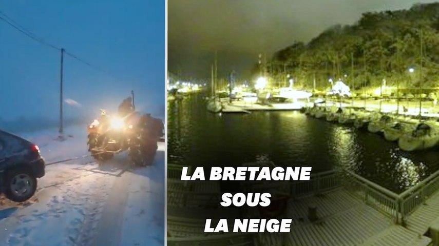 Les images des chutes de neige en Bretagne