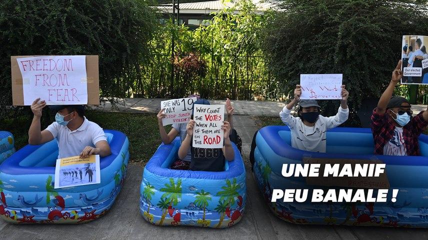 Pourquoi les manifestants en Birmanie sont dans des piscines gonflables?