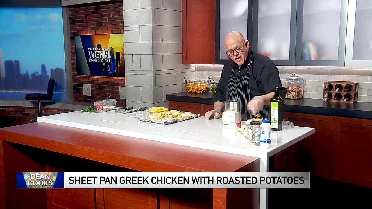 Dean shares recipe for Sheet Pan Greek Chicken with Roasted Potatoes