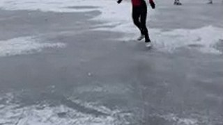 Mia Drummond takes to the ice in Inverleith Park, Edinburgh