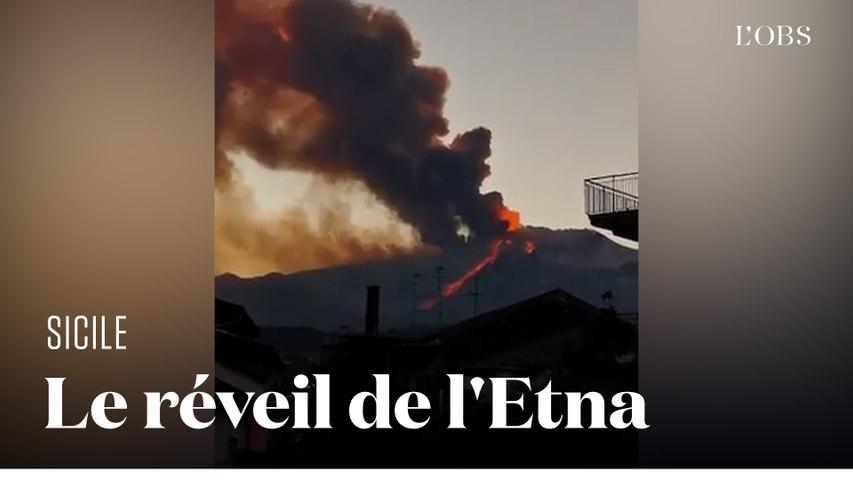 L'impressionnant panache de l'Etna entré en éruption en Sicile