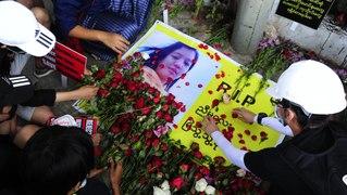 Myanmar: memorials held for protester shot by police
