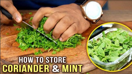 How To Cut & Store Coriander & Mint Leaves | Ways To Clean Coriander & Mint Leaves | Basic Cooking