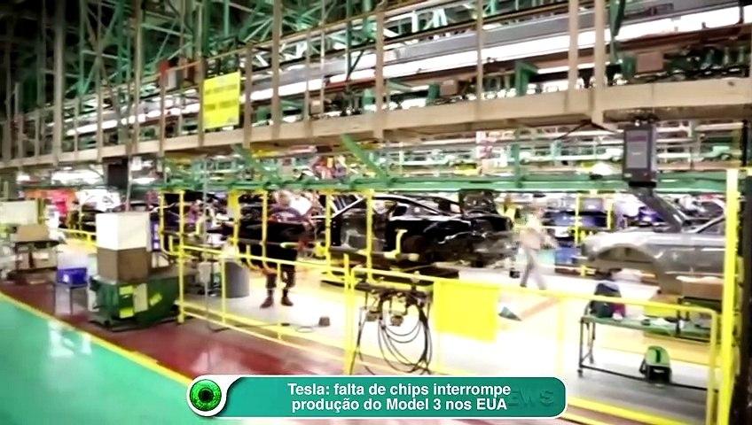 Tesla- falta de chips interrompe produção do Model 3 nos EUA