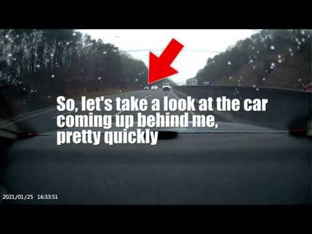 Car Tailgating Closely Behind Another Car on Highway Has a Near Miss