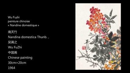 Wu Fuzhi, peinture chinoise, « Nandine domestique »/吴茀之中国画《南天竹》/Nandina Domestica Thunb., Chinese painting by WU Fuzhi