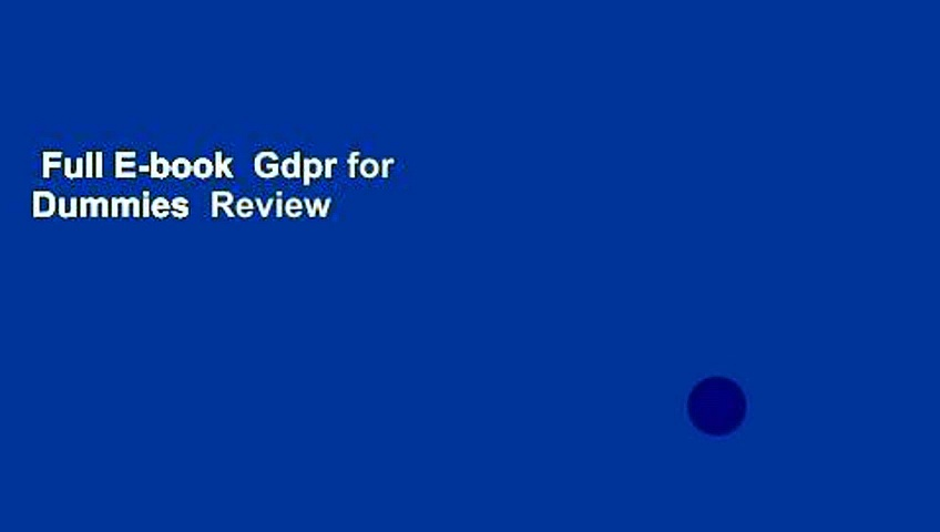 Full E-book  Gdpr for Dummies  Review