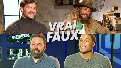 "JUSTICE LEAGUE : interview ""vrai ou faux"" avec Henry Cavill, Ben Affleck, Jason Momoa et Ray Fisher"