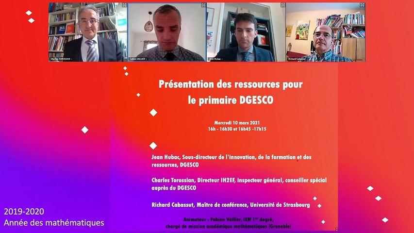 Présentation des ressources DGESCO en mathématiques pour le primaire