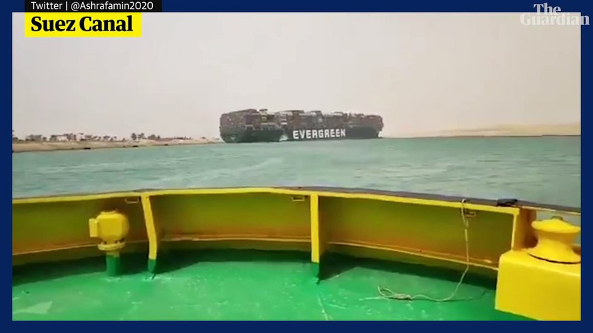 Suez Canal blocked after container ship runs aground
