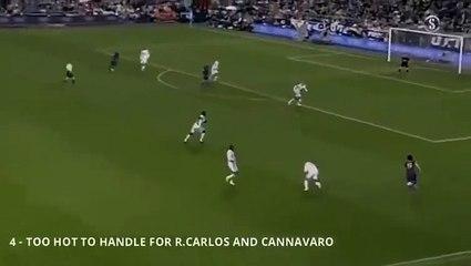 19 tuổi Lionel Messi đối đầu với Roberto Carlos và Fabio Cannavaro