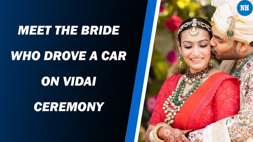 A newly-wed bride took her husband home driving the car by herself