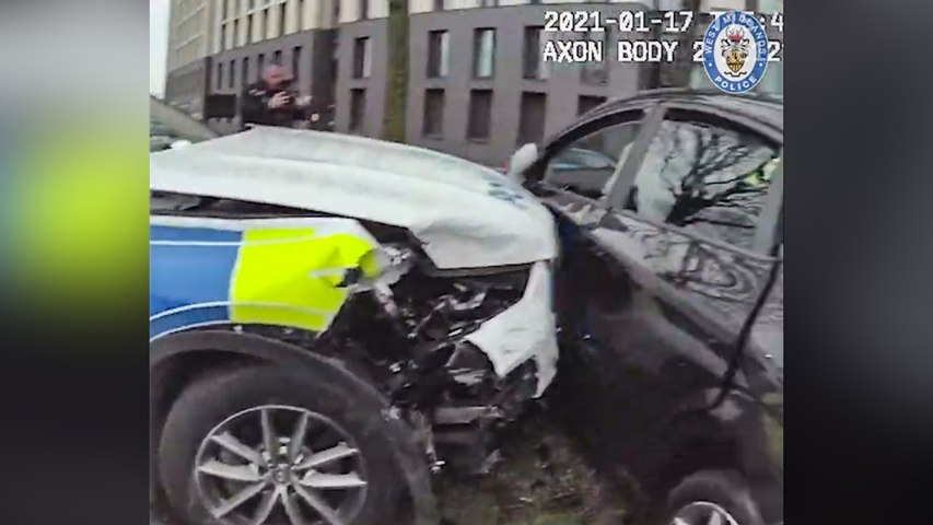 Police ram getaway car into tree after 80mph chase