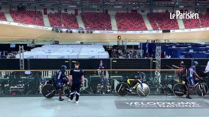L'équipe de France de cyclisme sur piste s'entraîne autour... des vaccinés