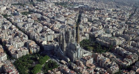 Le chantier de la Sagrada Familia vu du ciel