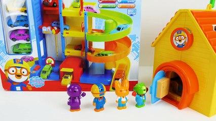 Pororo the Little Penguin Đồ chơi đầy màu sắc Xe ô tô Playset