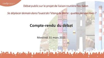 Débat Public Liaison Routière Fos Salon - Réunion de restitution - 31 mars 2021