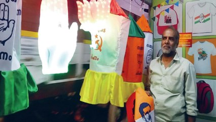 Political colors on umbrellas, t-shirts & sarees in Bengal