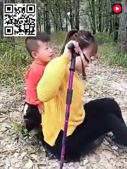 Polio life 2021 | Little boy helps crippled mother to walk on her deformed polio legs_480p
