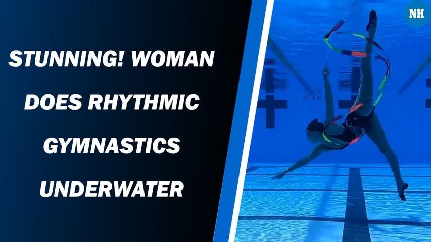 Stunning! Woman does rhythmic gymnastics underwater