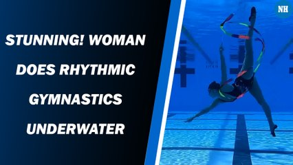 Stunning! Woman does rhythmic gymnastics underwater