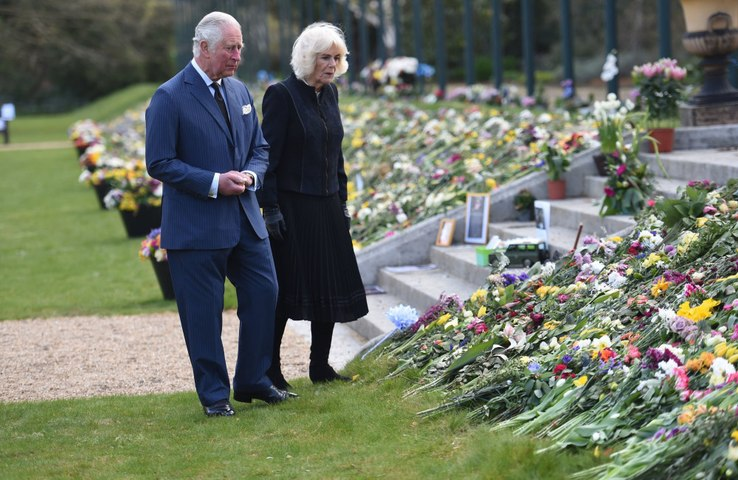 Prince Charles cries as he visits Prince Philip memorial