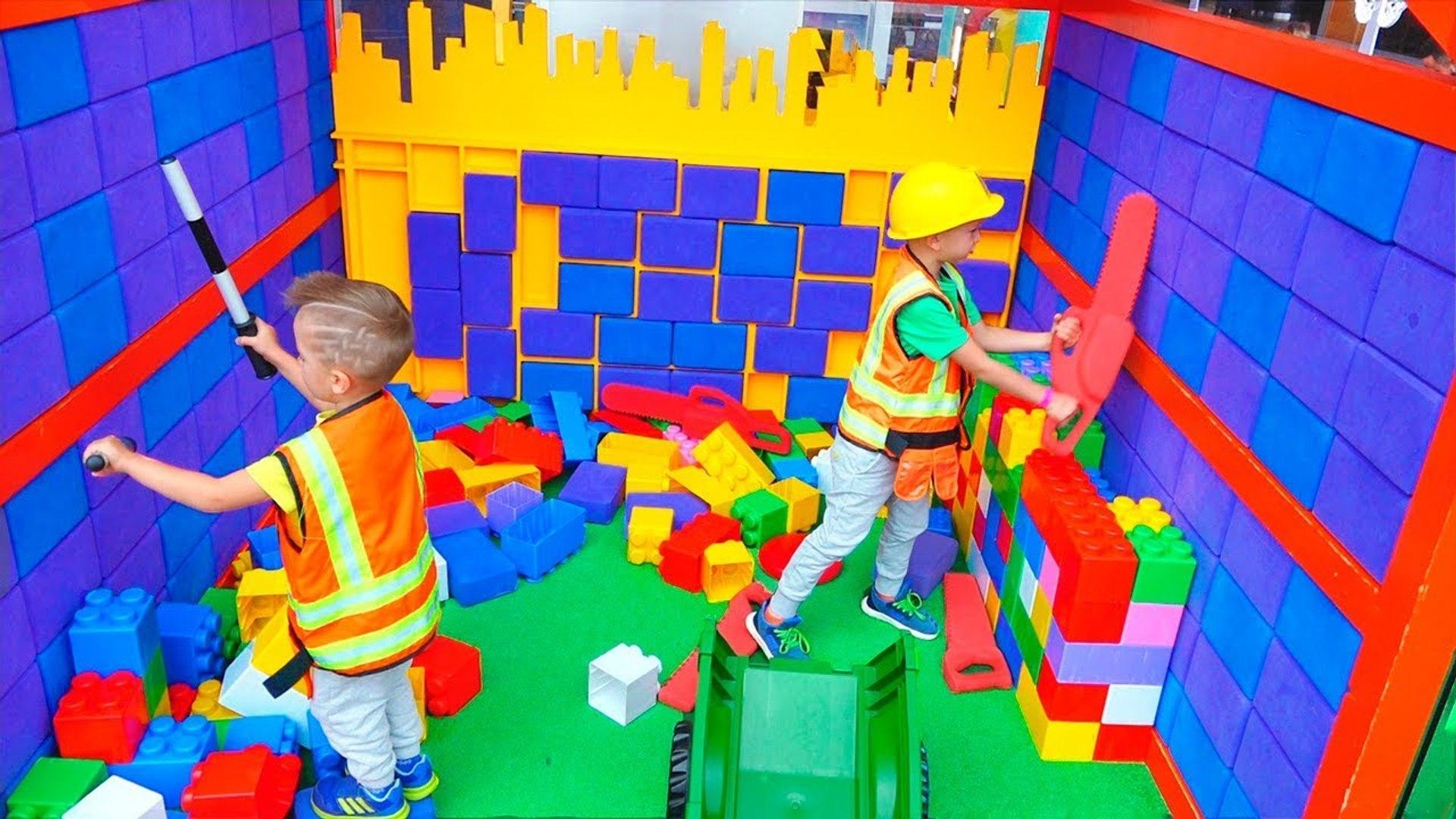 Vlad, Nikita and Mom Kids Activities at Indoor Playground