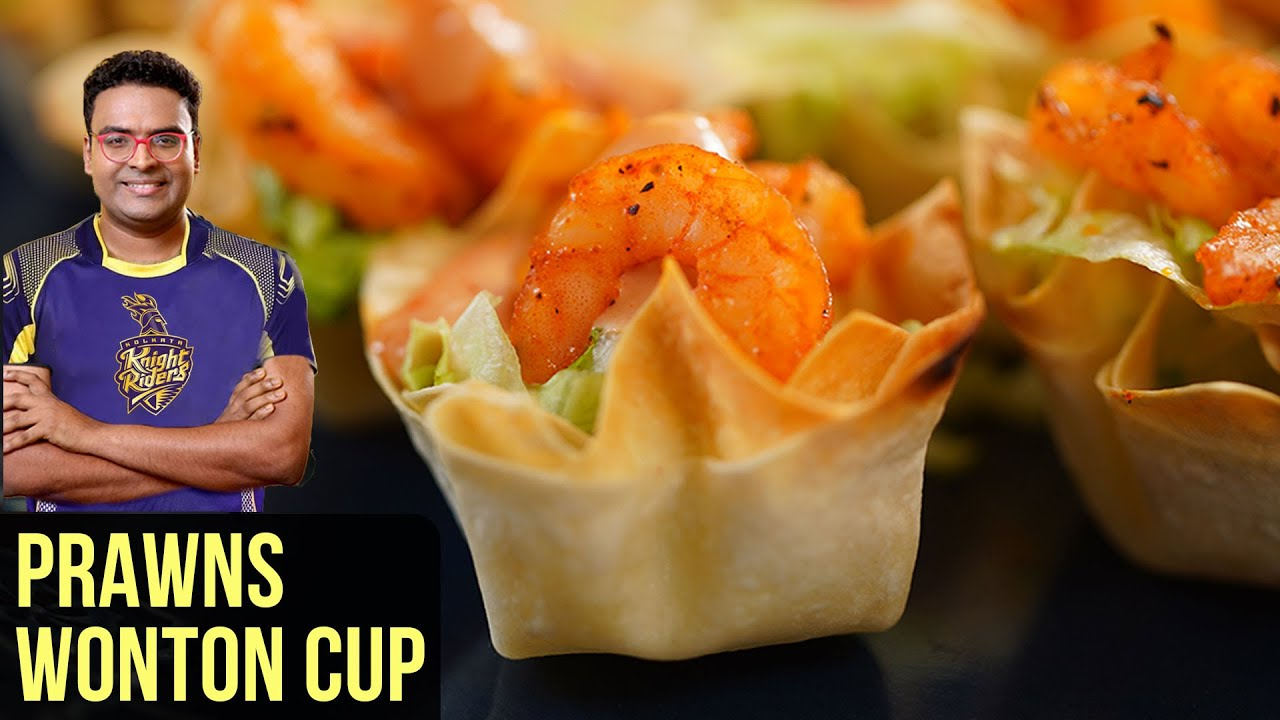 Prawns Wonton Cups Recipe | How To Make Prawn Starters In Microwave Oven | Indian Culinary League
