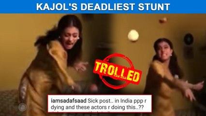 Kajol Performs Dangerous Stunt | Gets Bashed By Netizens On Social Media | Watch Video