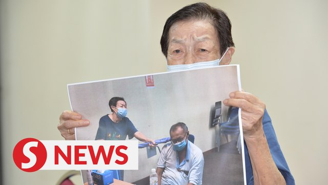 Elderly woman beats son with umbrella, disowns him due to loan shark issues