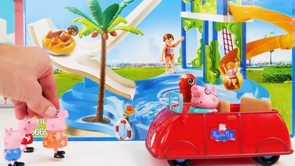 Peppa Pig Toy Learning Video for Kids - Peppa Pig Gets a New Pool and Goes Swimming!