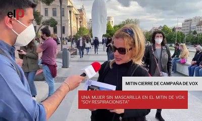 """Una mujer sin mascarilla en el mitin de Vox: """"Soy respiracionista"""""""