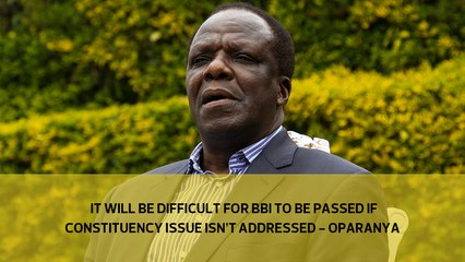 It will be difficult for BBI to be passed if the constituency issue isn't addressed - Oparanya