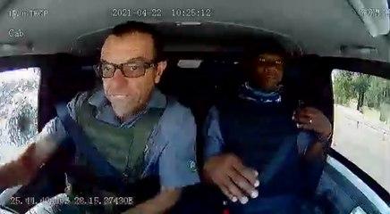 VÍDEO: Brutal reacción del conductor de un camión blindado ante los disparos en un intento de atraco