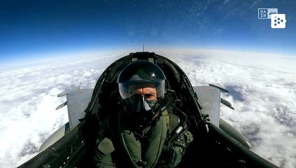 Pilot Pedro de la Rosa flies in a Spanish Air Force fighter