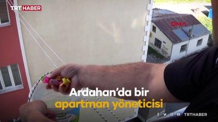 Ardahan'da binadan binaya makaralı sistemle şeker toplandı